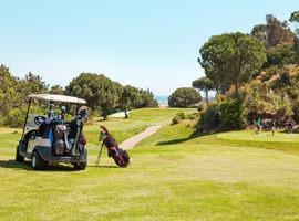 Islantilla Golf, Grün, Wiese, Golfplatz, Golf Cart, Golfbag, Bäume, Himmel