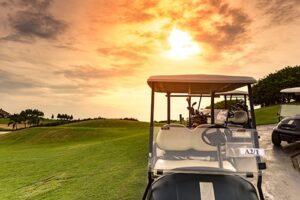 Golfcart, Sonne, Golfplatz