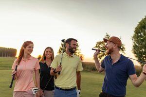 Golfspieler, Golfschläger, Sonnenuntergang, Golfplatz, Bäume, Grün